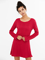 Women's Going out / Casual/Daily Simple / Street chic Sheath DressSolid Knit Slim Round Neck Above Knee Long Sleeve