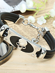 Men's ID Bracelets Gothic Fashion Vintage Punk Hip-Hop Rock Stainless Steel Titanium Steel PU Geometric Skull Jewelry