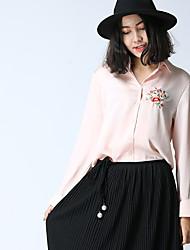 Feminino Camisa Social SimplesBordado Raiom Colarinho de Camisa Manga Longa