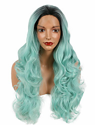 Wavy Synthetic Mint Green Ombre Dark Root Lace Front Wig Long Nature Looking Summer Wig Heat Resistant Fiber Hair