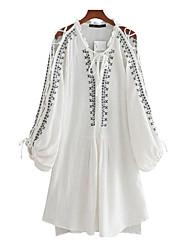 Women's Daily Simple Shirt,Print V Neck Long Sleeve Cotton