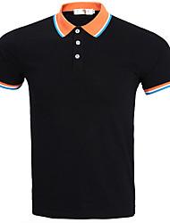 Tee-shirt Homme,Couleur Pleine simple Bureau/Carrière Quotidien Décontracté simple Actif Eté Automne Manches Courtes Col de ChemiseCoton