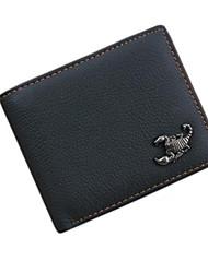 Men Cowhide Wallet Black Formal Card Holder Genuine Leather Purse