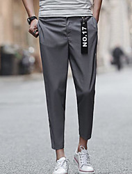 Men's Low Rise Micro-elastic Skinny Pants,Simple Relaxed Solid