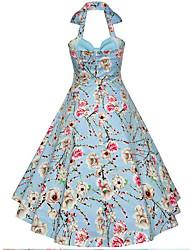 Women's Going out Cute A Line Skater Dress,Floral Print Halter Knee-length Sleeveless Cotton Summer Mid Rise Micro-elastic Medium