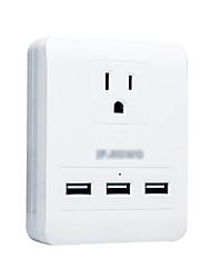 Силовая полоса 3 порта USB 1 розетки 15a 125v разъем для интеллектуального преобразования