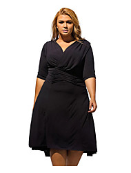 Women's Casual/Daily Simple Loose Dress,Solid V Neck Above Knee ½ Length Sleeve Others Summer Mid Rise Inelastic Medium