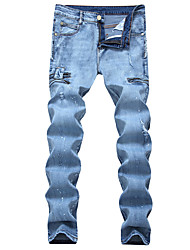 HOT! 28-42 Plus Size Men's Mid Rise High Elasticity Loose Jeans PantsSimple Loose Ripped Solid High Quality Famous Brand Denim Jeans You're Worth It