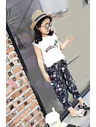 Girls' Solid Color Print Sets,Cotton Summer Clothing Set