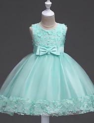 Robe de bal courte / mini robe de fille fleur - satin tul sans manches bijoux en col avec applique