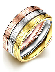 Concise Mixed Color Titanium Steel Eternity 3 in 1 Band Wedding Ring Set Jewellery for Women Accessiories