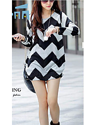 Women's Formal Simple Shirt,Striped Round Neck Long Sleeve Cotton