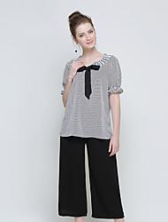 Damen Gestreift Lässig/Alltäglich Formal Lässig/Alltäglich T-Shirt-Ärmel Hose Anzüge,Rundhalsausschnitt Sommer 1/2 Ärmel Schleife