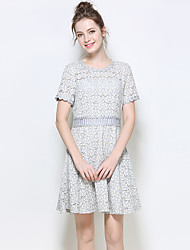 YIYEXINXIANGWomen Party Cute Sheath DressSolid Round Neck Above Knee Short Sleeve Polyester Summer Mid Rise Inelastic Medium