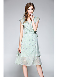 NEDO Women's Going out Party Holiday Sexy Street chic Sophisticated Chiffon Trumpet/Mermaid DressFloral V Neck Knee-length Sleeveless