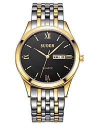 Men's Fashion Watch Quartz Digital Calendar Water Resistant / Water Proof Leather Band Black Silver Brown