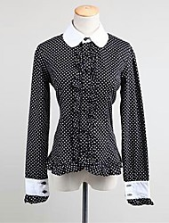 Blouse/Shirt Classic/Traditional Lolita Rococo Cosplay Lolita Dress Polka Dot Long Sleeves Shirt For Padded Fabric