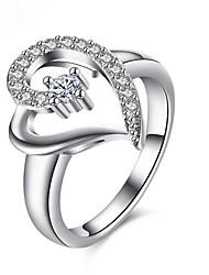 Anel Imitação de Diamante Coração Prata Chapeada Formato de Coração Jóias Para Diário Casual 1peça