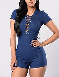 Feminino Cintura Alta Casual Bandagem Férias Macacão Fashion Cor Única Clássico Fashion Ganga Primavera