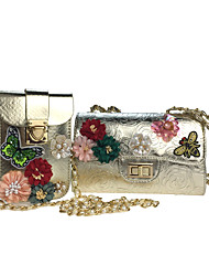 Women Bags All Seasons Poly urethane Bag Set with Rhinestone Appliques Pearl Detailing Bead Sequined Floral Flower Petals Embroidered
