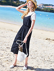 Для женщин На каждый день Лето Как у футболки Платья Костюмы Воротник-стойка,Милые Однотонный Без рукавов