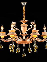 Pendant Light Zinc Alloy Feature for Crystal Mini Style Metal 6 Bulbs