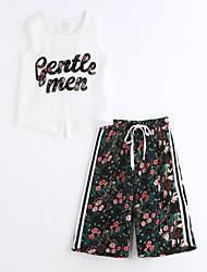 Girls' Print Geometric Sets,Cotton Summer Sleeveless Clothing Set