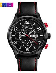 Masculino Relógio Elegante Relógio de Moda Relógio de Pulso Chinês Quartzo Calendário Três Fusos Horários Mostrador Grande Couro Legitimo