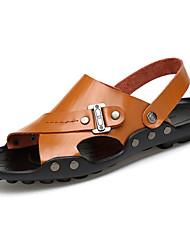 Women's Sandals PU Spring Summer Low Heel White Black Yellow Dark Brown Under 1in