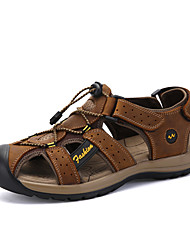 Men's Sandals Comfort Nappa Leather Summer Outdoor Athletic Water Shoes Magic Tape Flat Heel Brown Light Yellow Flat