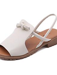Women's Sandals Mary Jane Leatherette Summer Outdoor Dress Casual Walking Bowknot Magic Tape Block Heel Beige Black 1in-1 3/4in