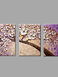 Hand Painted Oil Painting Modern Knife Flower 3 Piece/set Wall Art with Stretched Framed Ready to Hang