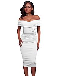 Moulante Robe Femme Soirée / Cocktail Soirée Sexy,Couleur Pleine Bateau Midi Manches Courtes Polyester Spandex Eté Taille Haute Elastique