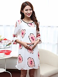 Women's Casual/Daily Tunic Dress,Solid Floral Round Neck Maxi Long Sleeve Silk Spring High Rise Micro-elastic Medium