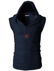 Hombre Simple Deportes Casual/Diario Verano Camiseta,Con Capucha Un Color Sin Mangas Algodón Opaco