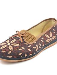 Для женщин Мокасины и Свитер Удобная обувь Ткань Осень Весна Повседневные Удобная обувь Бант Цветы На плоской подошве Красный Верблюжий