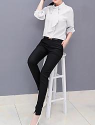 Feminino Blusa Calça Conjuntos Casual Simples Outono,Cor Única Colarinho de Camisa