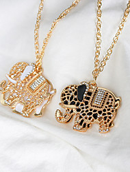 Black White Drip Oil Double Hollow Alloy Thai  Elephant Necklace Jewelry For Women Wedding Party Special Occasion Halloween Anniversary