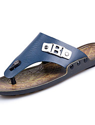Men's Slippers & Flip-Flops PU Spring Summer Low Heel Blue Light Brown Under 1in