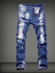 Men's Mid Rise Micro-elastic Jeans Pants,Street chic Loose Solid