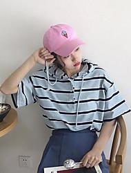 Damen Gestreift Einfach T-shirt,Mit Kapuze Sommer Kurzarm Baumwolle Mittel