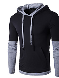 Men's Casual/Daily Sports Hoodie Solid Hooded strenchy 34%Wool38%Cotton 28%Ramine 3/4 Length Sleeve Spring FallPattern Gender Occasions Fabric Season