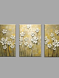 Hand Painted Oil Painting Modern Knife Flower 3 Piece/set Home Decor with Stretched Framed Ready to Hang