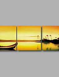 Stretched Canvas Print Three Panels Canvas Wall Decor Home Decoration Abstract Modern Sunrise Boats