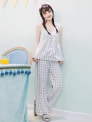 Damen Babydoll & slips Nachtwäsche,Sexy Karomuster