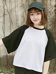 Damen Einfarbig Einfach Alltag T-shirt,Rundhalsausschnitt ½ Länge Ärmel Baumwolle