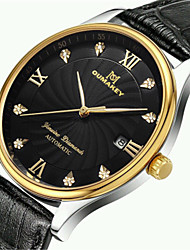Men's Fashion Watch Quartz Automatic self-winding Calendar Water Resistant / Water Proof Leather Band Black
