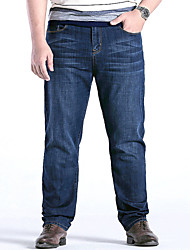 Men's Mid Rise Micro-elastic Straight Jeans PantsSimple Loose Straight Solid YF-6101