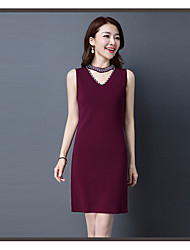 Women's Going out Casual/Daily Chinoiserie Sheath Dress,Solid Turtleneck Above Knee Sleeveless Silk Spring High Rise Micro-elastic Medium