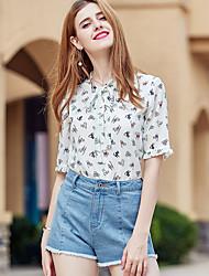 Для женщин Блуза V-образный вырез,Очаровательный С принтом Рукав ½,Полиэстер